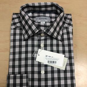 Eton Grey Check Spread Collar